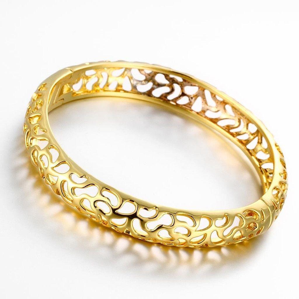 Gold Plated Bangle Bracelets for Women Gold Hollow Design