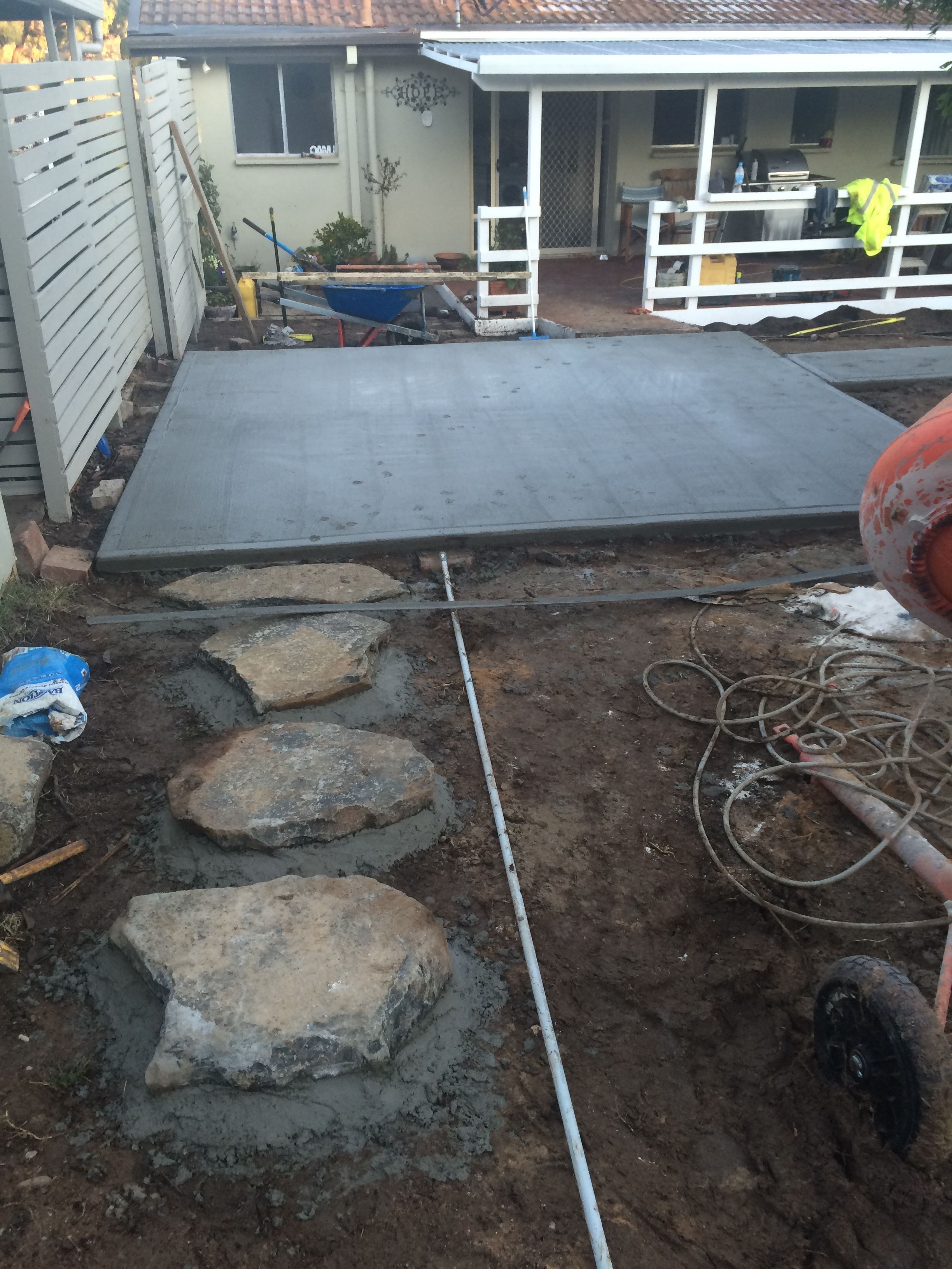 day 6 concrete slab for travertine pavers stepping stones to