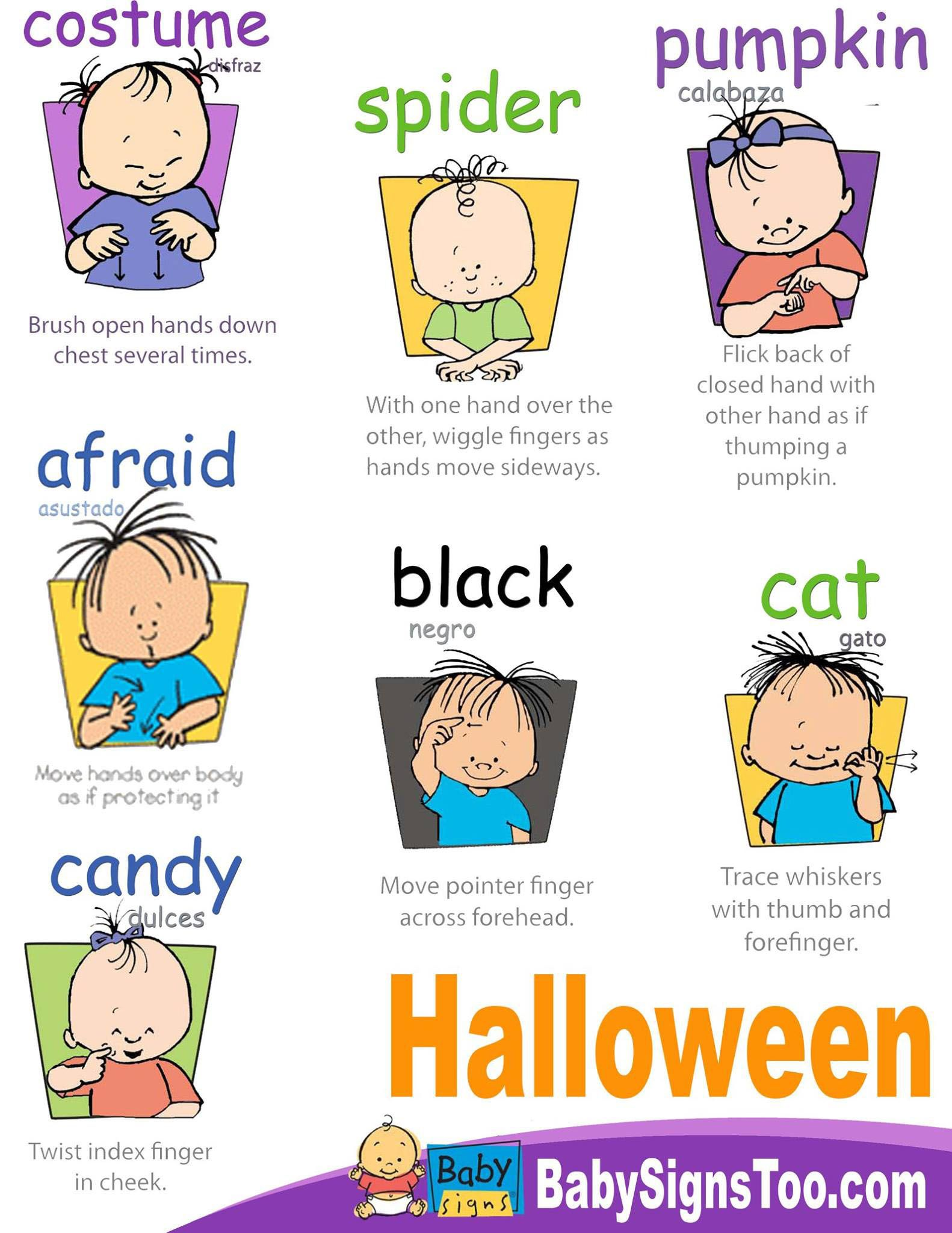 Halloween Signs printable poster BabySigns