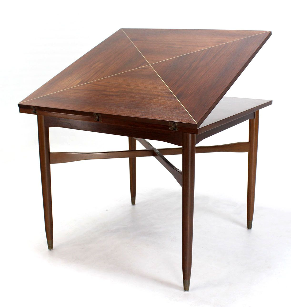 dining room game tables. walnut-top with brass inlay, mid-century modern expandable game table dining room tables