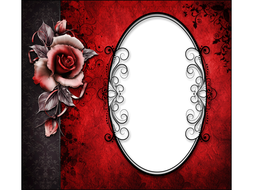 Red and Black Transparent Frame with Rose PNG Transparent