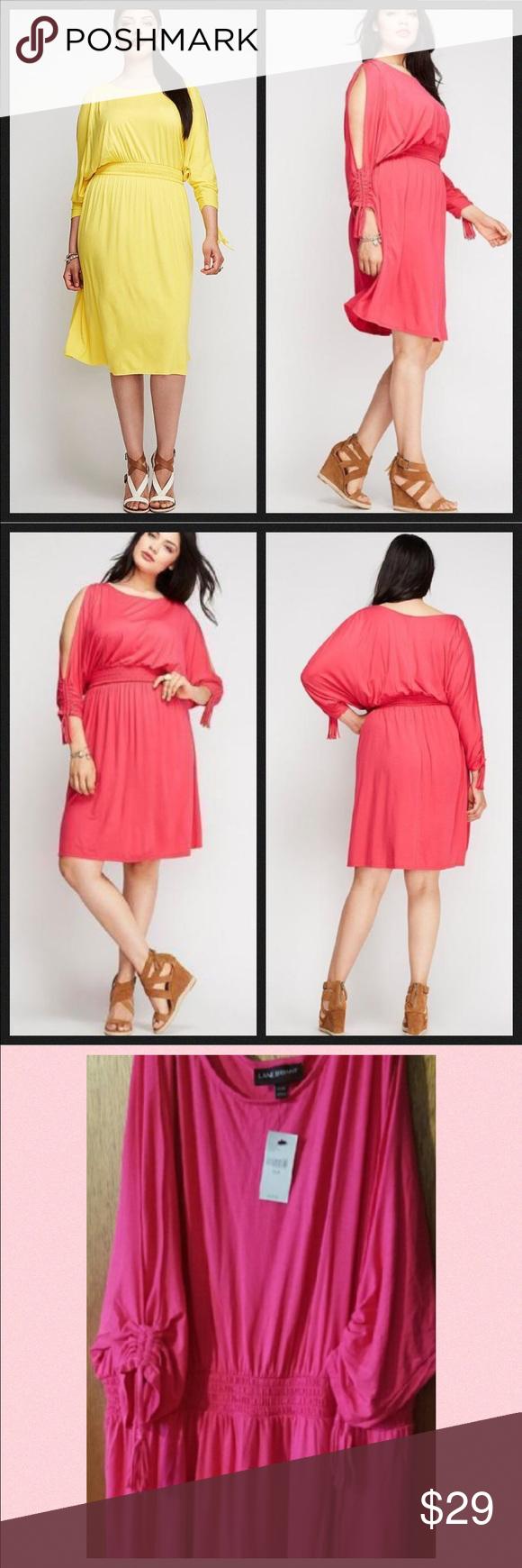 Hot pink color dress  NWT  Lane Bryant Hot Pink Cold Shoulder Dress  Shoulder dress