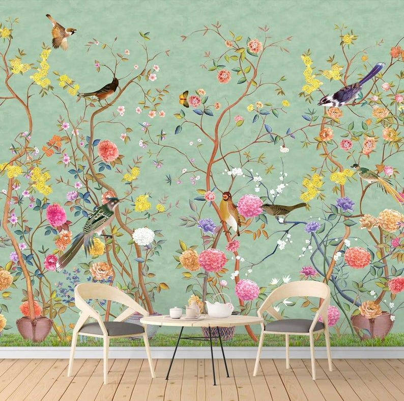 Nauzha Chinoiserie Wallpaper Vintage Bird Wallpaper Etsy Vintage Bird Wallpaper Chinoiserie Wallpaper Hand Painted Wallpaper