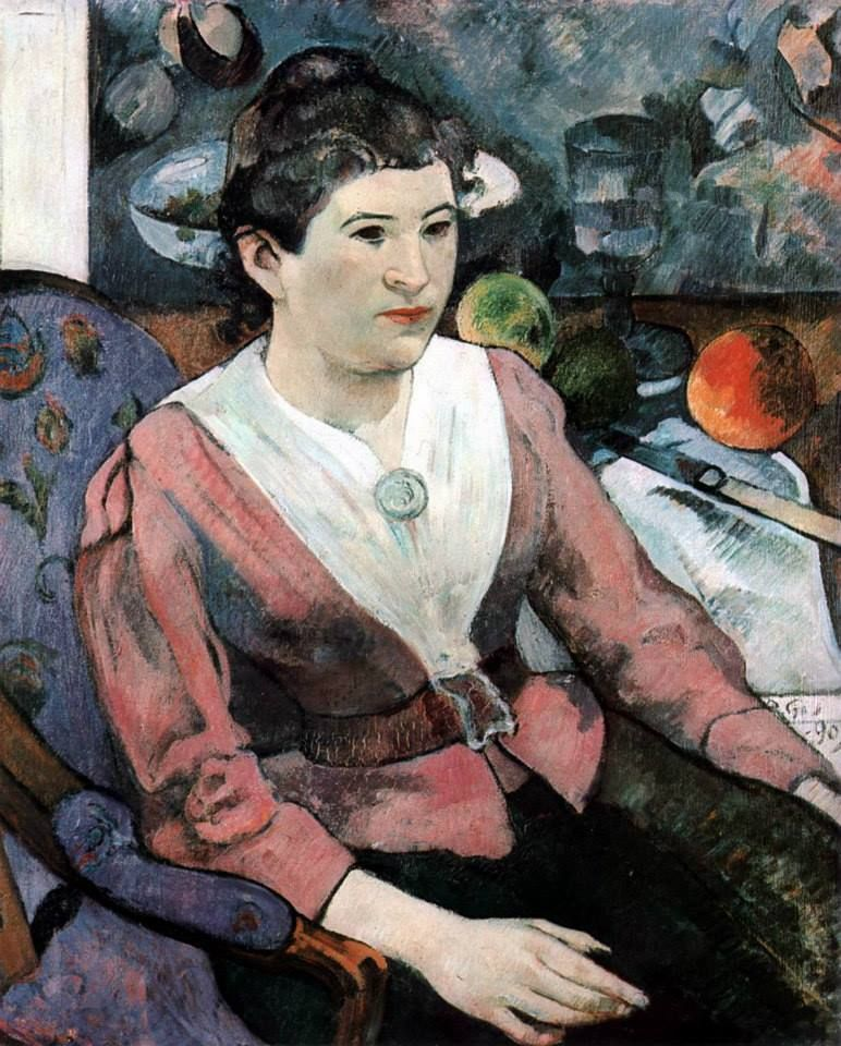 GAUGUIN, Paul Woman in front of a Still-Life by Cézanne 1890