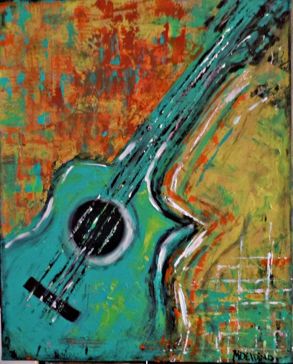 Abstract guitar original painting music wall art large by ...