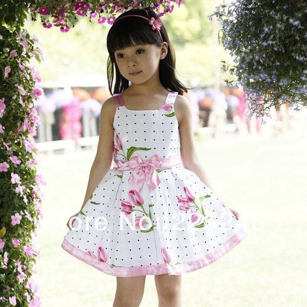 7491de88c Barato Vestidos das meninas nova moda verão bebê menina roupa dos miúdos  flores vestido de algodão roupa do bebê