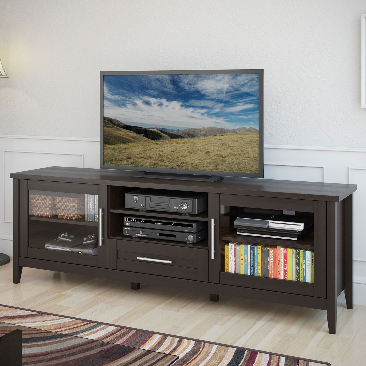 """Hudson 71"""" TV Stand Espresso Products, Tv stands and"""