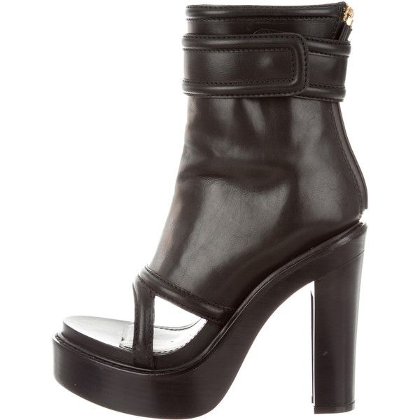 Pre-owned Givenchy Leather Platform Booties ($445) ❤ liked on Polyvore featuring shoes, boots, ankle booties, black, black platform boots, platform boots, open toe ankle booties, black booties and leather boots