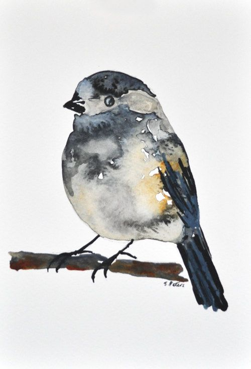 ORIGINAL Watercolor bird painting - Grey Chickadee 5x8 inch