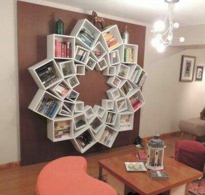 Bücherregalsysteme Weiß Stern Form Wandgestaltung