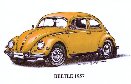 1957 volkswagon beetle by mrclassic crafts pinterest - Dessin coccinelle vw ...