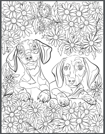 de stress with dogs downloadable 10 page coloring book for adults who love dogs print instantly