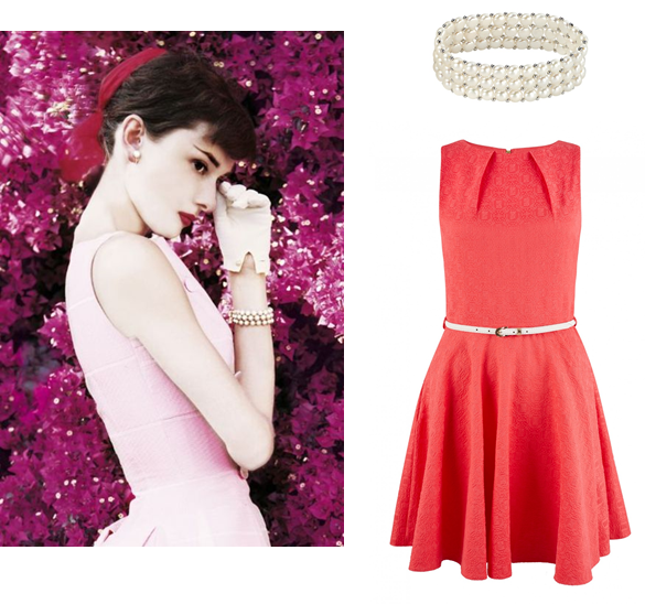 This outfit is so elegant - the Closet coral jacquard belted skater dress with a pearl bracelet.