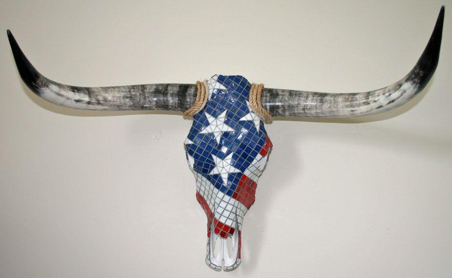 American Flag Longhorn Cow Skull Mosaic Wall Art Charity
