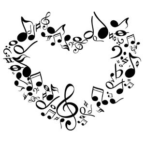 Music heart. Note clipart musical notes