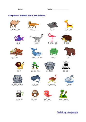 Animales Salvajes Completar Espacios Animals Animal Games Lemur
