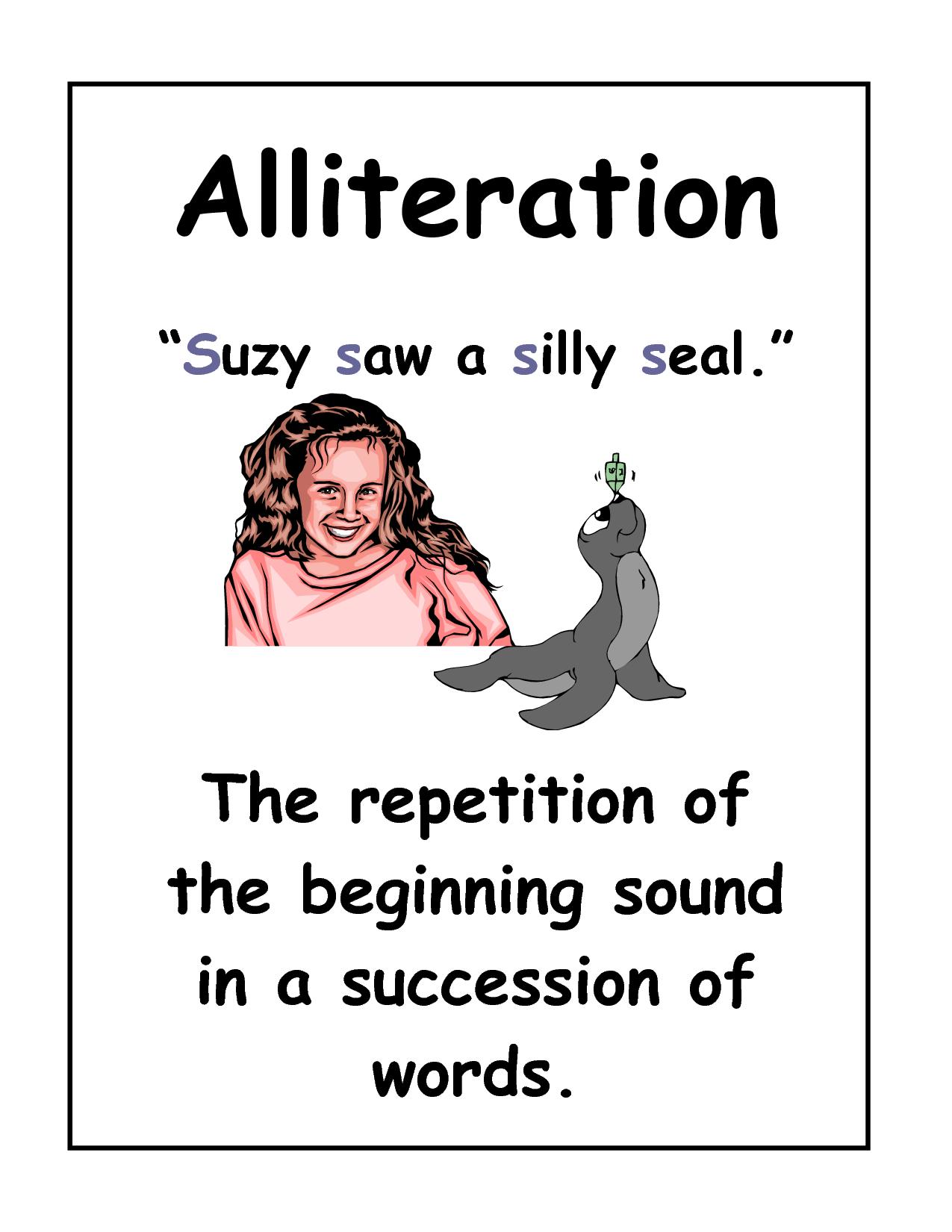 Alliteration example poster | FIGURATIVE LANGUAGE ...