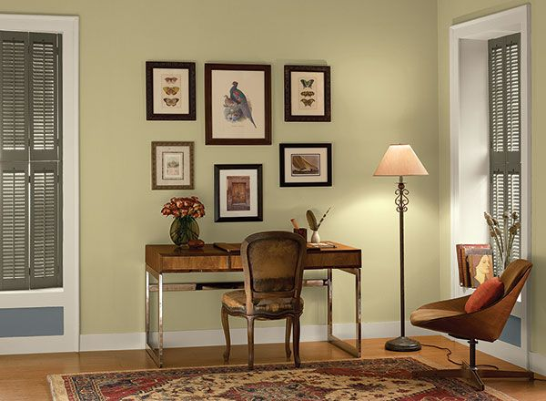 Interior paint ideas and inspiration green accents and for Benjamin moore office