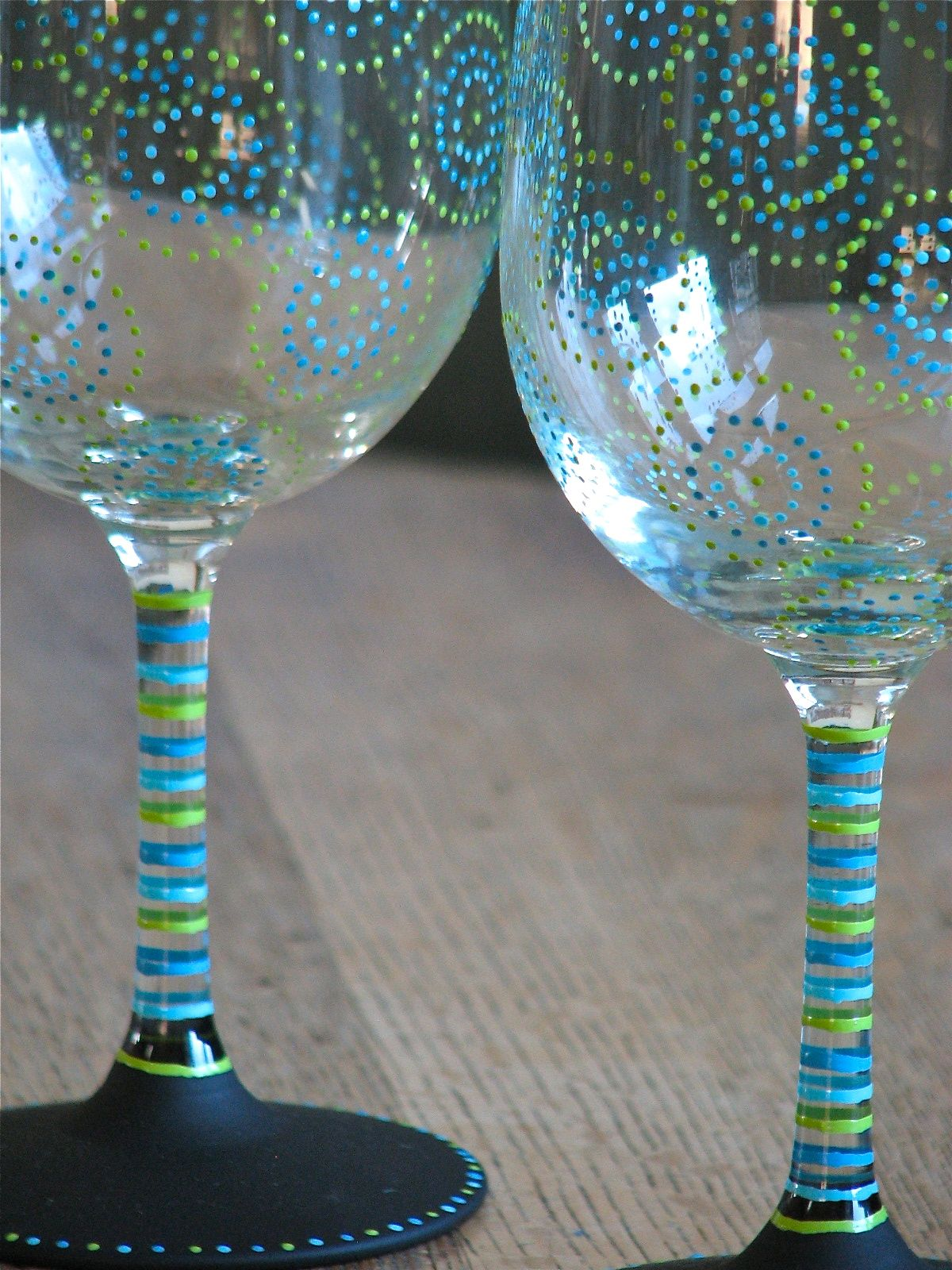 Hand painted chalkboard wine glasses from chic chalk for Can i paint glass with acrylic paint