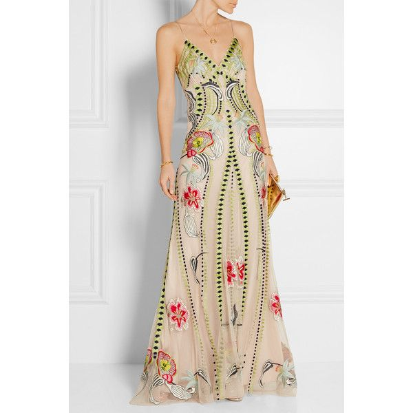 Temperley London Temperley London - Carmelina Embroidered Tulle Gown - Beige featuring polyvore, women's fashion, clothing, dresses, gowns, floral evening dresses, embroidered dress, sheer gown, sheer embroidered dress and floral embroidered gown