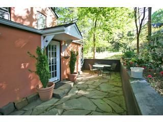 I am putting it out to the Universe - within two years we want to buy an adorable old house in Lambertville, with at least 2 bedrooms and (would-be-nice) 2 bathrooms and a big yard and at least one fireplace and and and and and...  I love the little stone patio on this one...