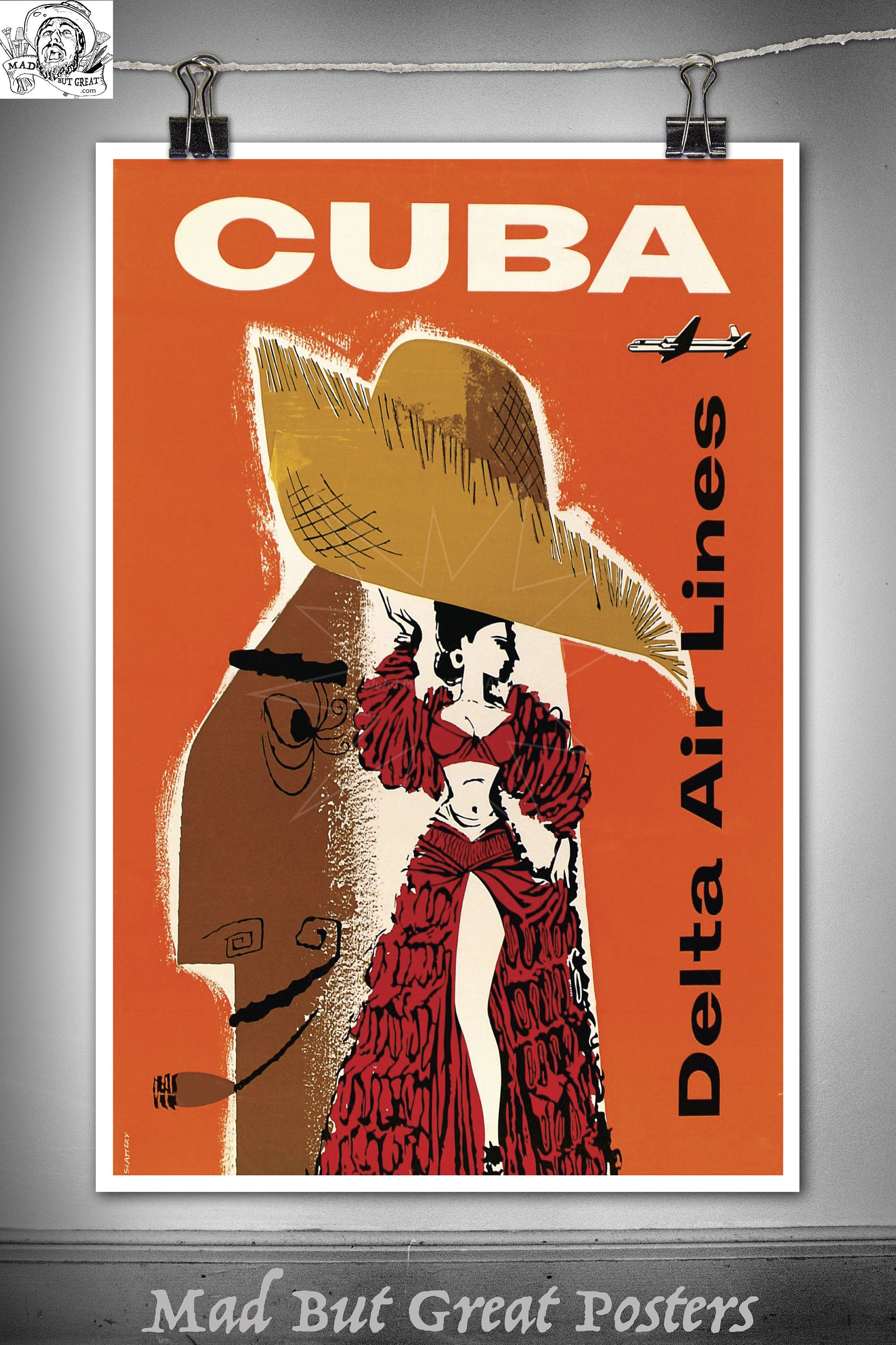 Cuba  Delta Air Lines, Travel Poster, 1960S, Vintage, Wall