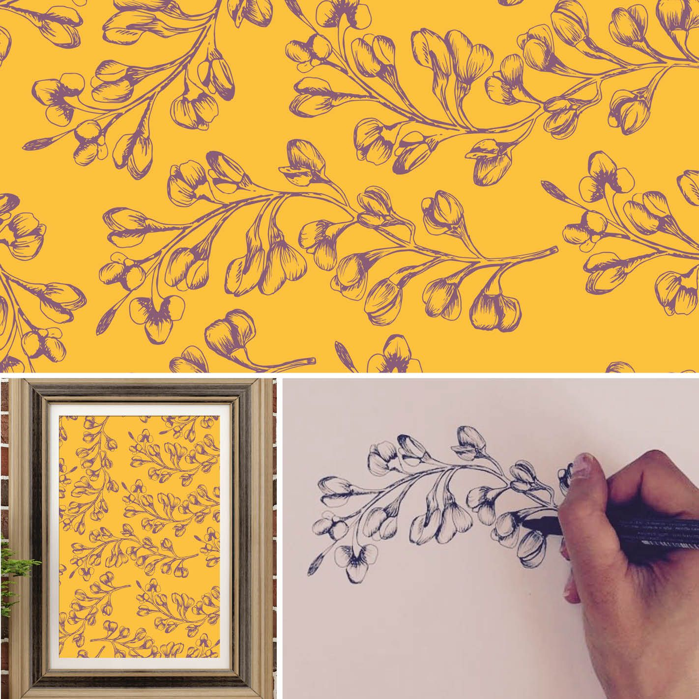 Yellow floral autumnal printable only £3.98. pamelalouisedesigns.etsy.com #HandIllustration #FloralPattern
