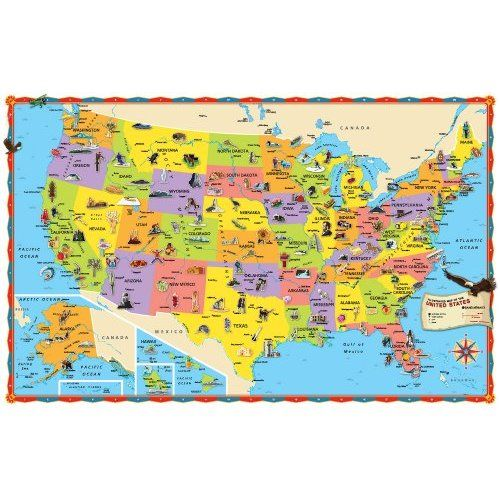 Illustrated Map Of The US For Kids Laminated Childrens Wall Map - Us natural resources map for kids