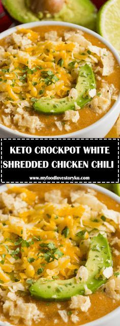 Keto Crockpot White Shredded Chicken Chili Easy Low Carb Slow Cooking Dinner Recipes Keto Crockpot Recipes Health Dinner Recipes Shredded Chicken Chili