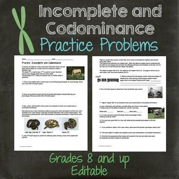 Genetics- Incomplete Dominance and Codominance Practice Worksheet ...