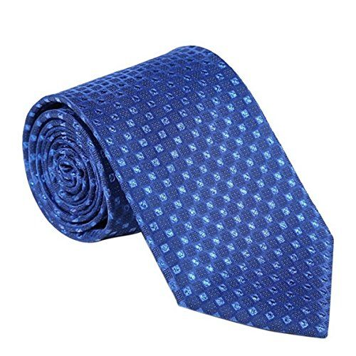 FEOYA Elegant Mens Lattice Tie Mulberry Silk Necktie – Textured Blue