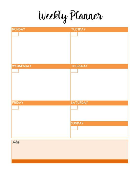 6 Bold Bright PRINTABLE Weekly Blank Planner Pages / Planning