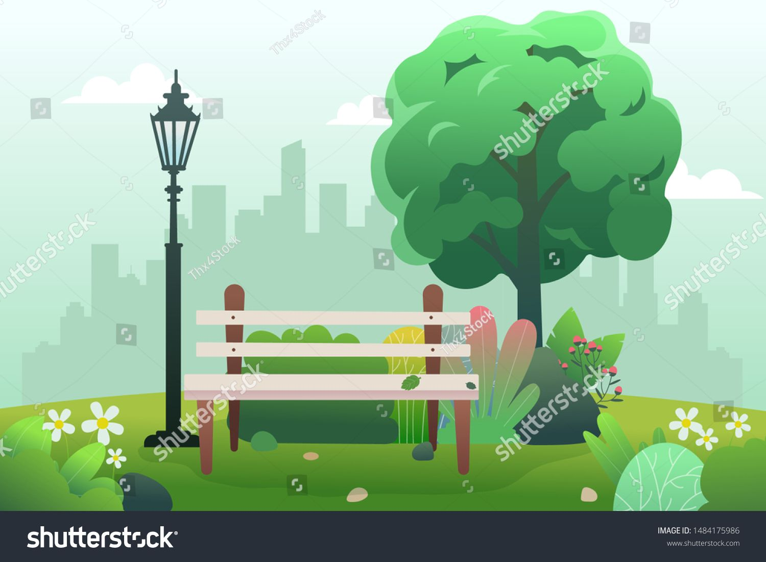 Public Park With Bench And Spring Background Of Landscape Cartoon Style Eps 10 Vector Sponsored Sponsored Spring Background Cartoon Styles Public Park