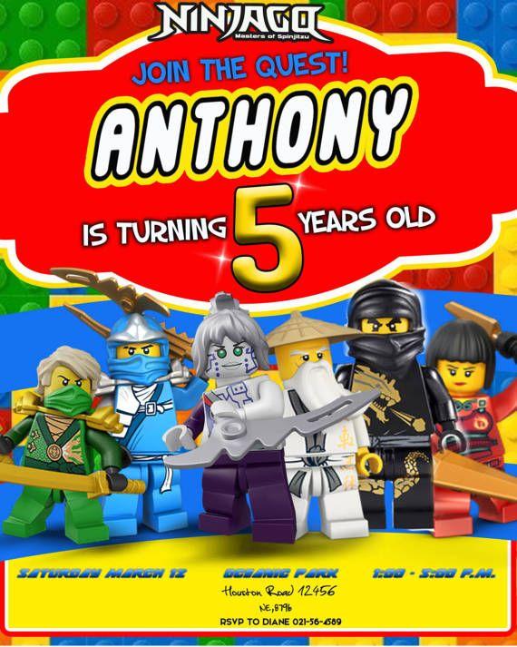 Invitación Digital Para Cumpleaños De Lego Ninjago