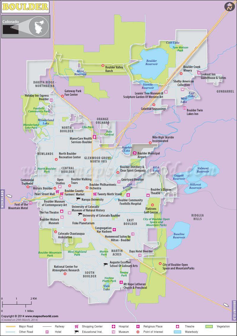 Boulder Map Usa Maps Pinterest Spring Break 2015 Highway Road