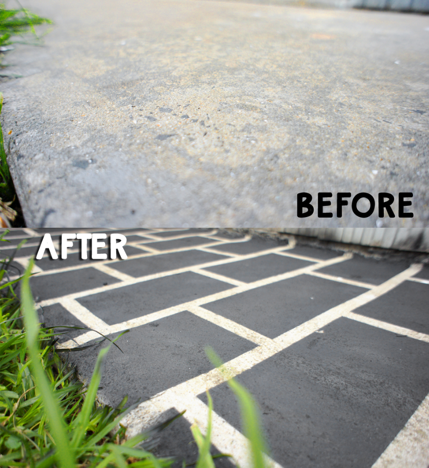 diy spray on brick look pavement masking tape spray paint