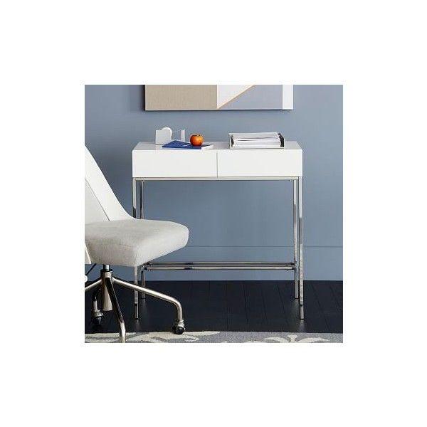 West Elm Lacquer Storage Mini Desk, Polished Nickel/White   Work Desks.