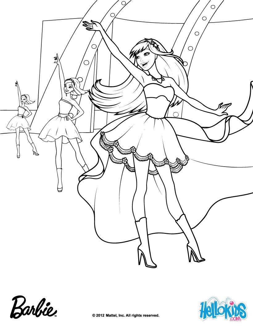 Barbie the princess the popstar coloring page more barbie content on hellokids com