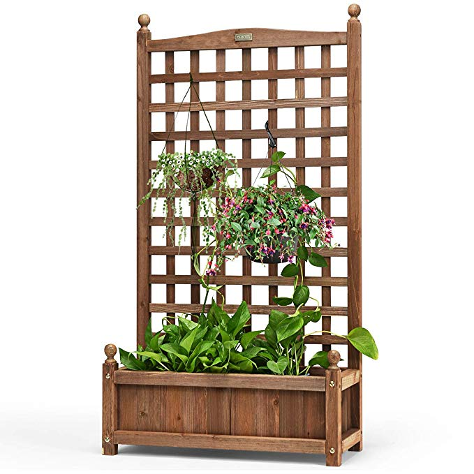 Amazon Com Giantex Wood Planter Free Standing Plant Raised Bed With Trellis For Garden Or Yard 25 Lx Planter Box With Trellis Planter Trellis Wood Planters