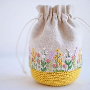 Hand-made Bag with Embroidery & Crochet ....