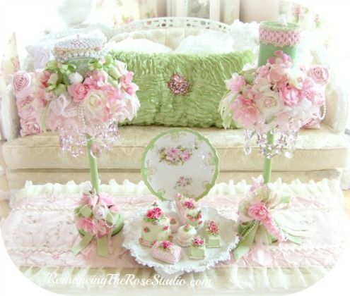 Shabby Chic Candles and Holdersshabby chic pink and green