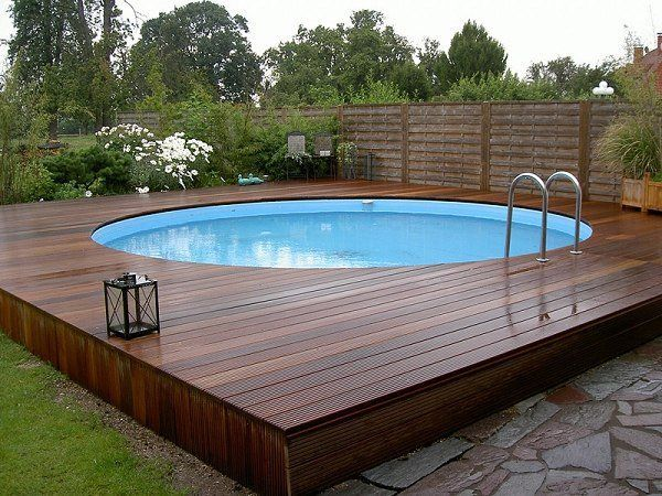 Modern Above Ground Pool Decks Ideas Wooden Deck Round Lawn Stone Slabs