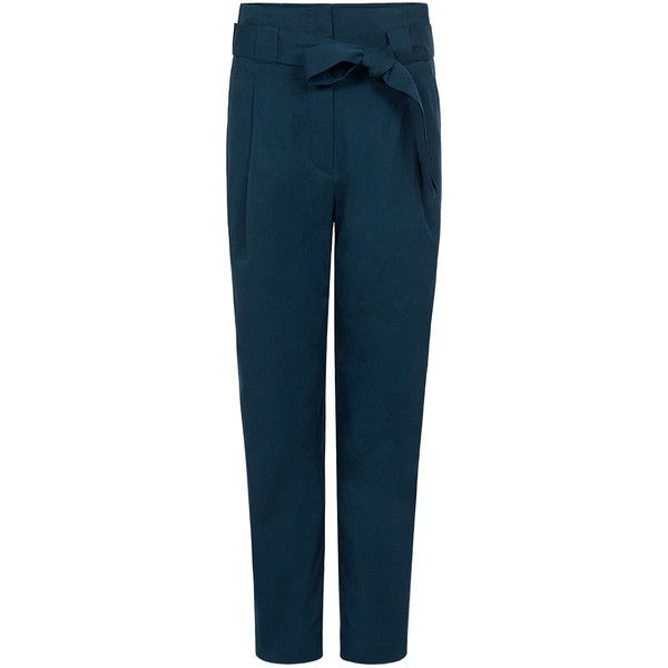 Paul & Joe Sister - POSEIDON PANTS (52.965 HUF) ❤ liked on Polyvore featuring pants, trousers, ifchic, брюки, bottoms, high rise trousers, cropped pants, high waisted cropped pants, highwaist pants and blue trousers