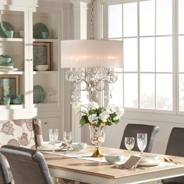 Tribecca Home Silver Mist Hanging Crystal Drum Shade Chandelier ($184) ❤ liked on Polyvore featuring home, lighting, ceiling lights, drum shade chandelier, crystal ceiling lights, colored crystal chandelier, drum lamp shade and silver candelabra