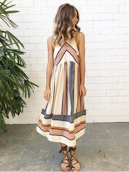 6b635e7c73 Love this look - Girl's got style. Coral, grey and white striped midi dress.