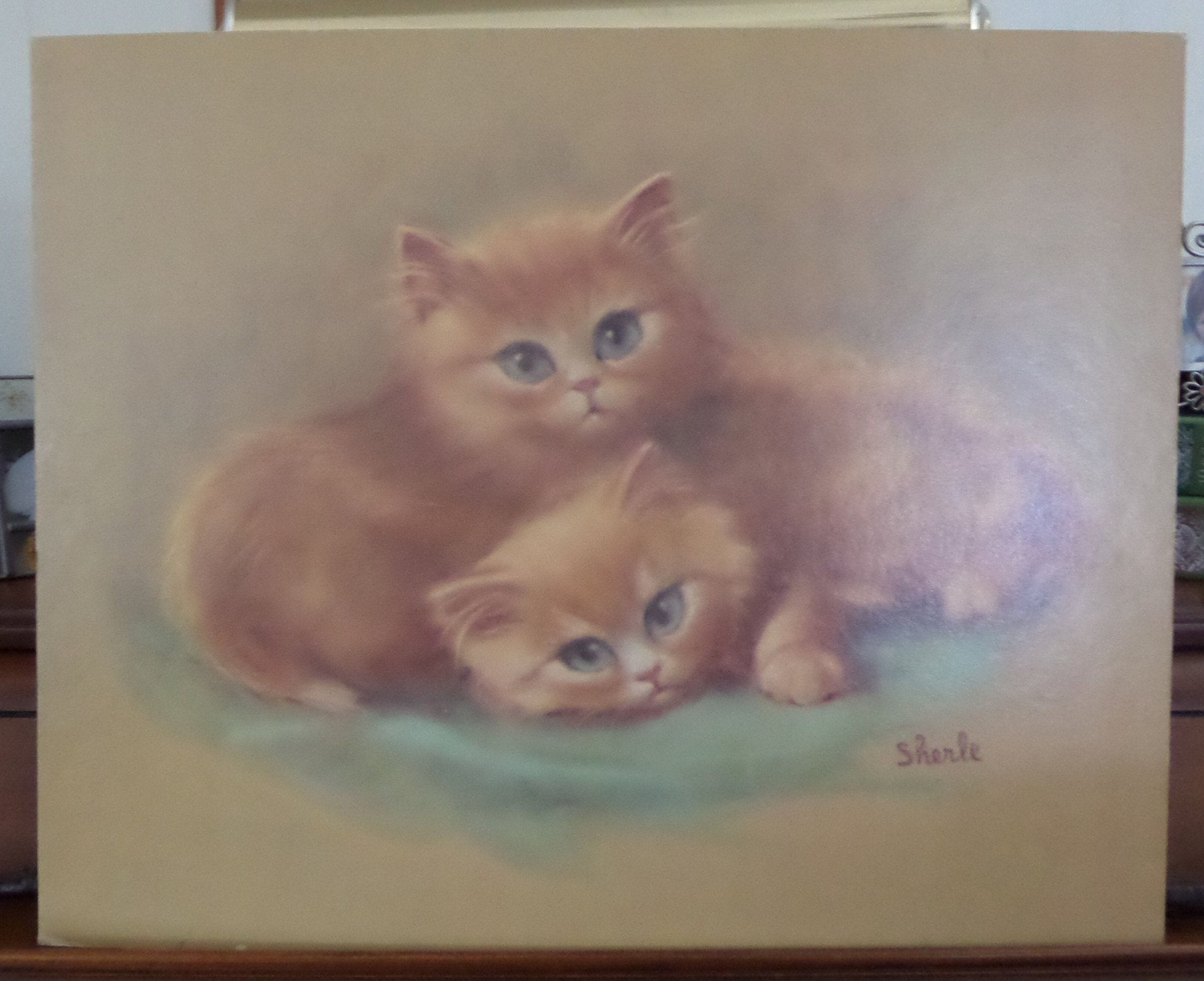 "SHERLE WOOD Blue Eyed Kittens, 20"" x 16"" 1960's Kitschy"