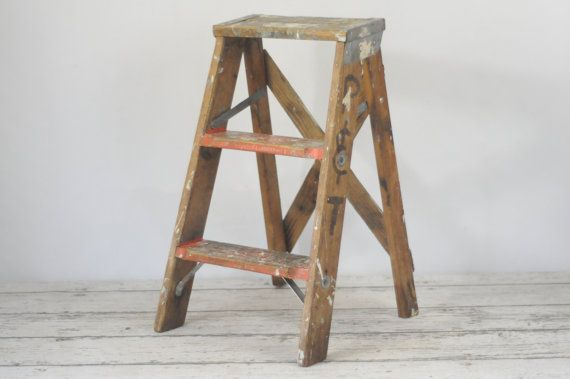 Vintage Wood Ladder Step Ladder Step Stool 2 Foot By Pagescrappers Wood Ladder Vintage Wood Step Ladders