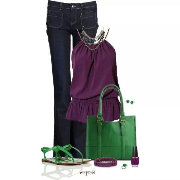 Trendy purple and emerald...