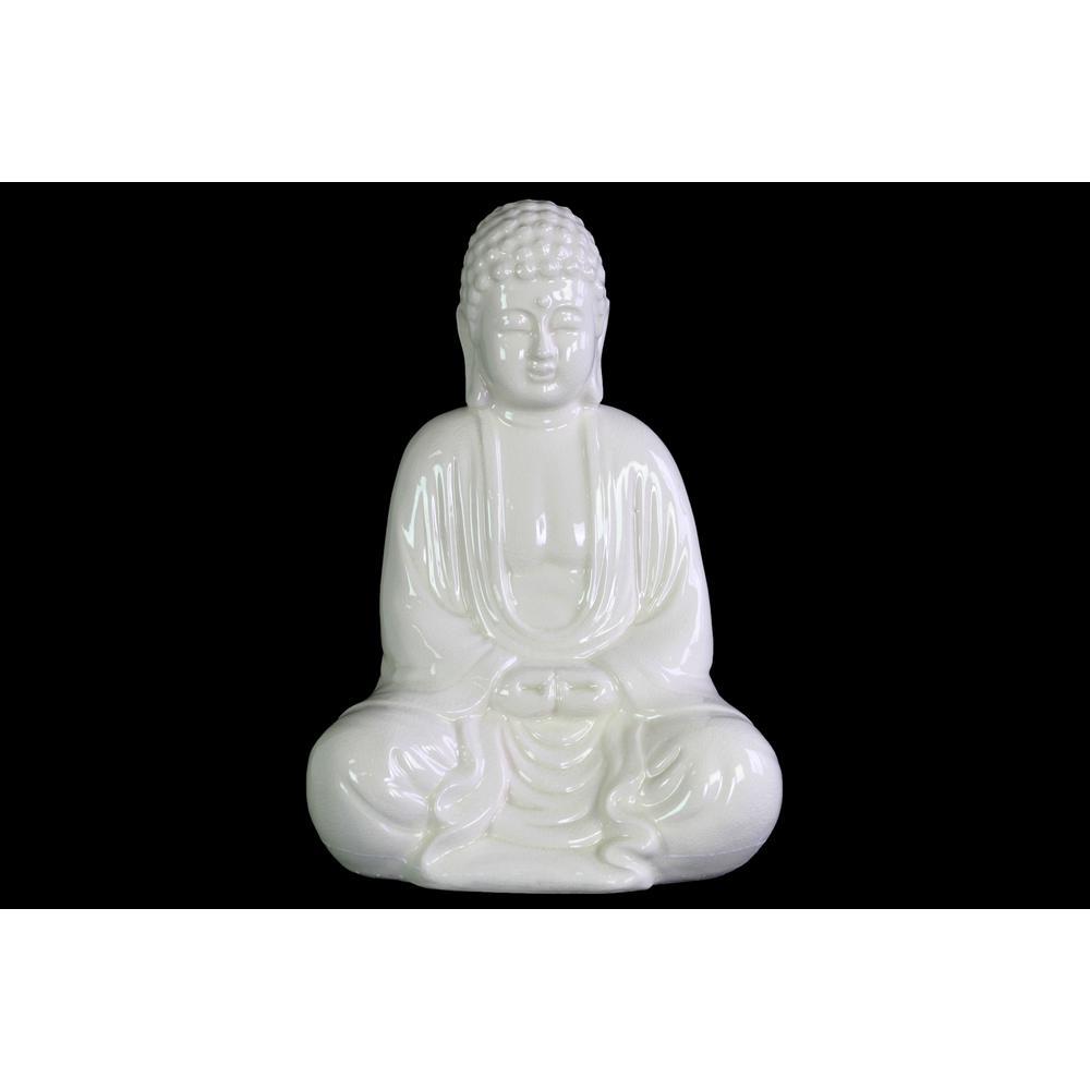 Urban Trends Collection 12.75 in. H Buddha Decorative Figurine in White Gloss Finish 12931 #buddhadecor