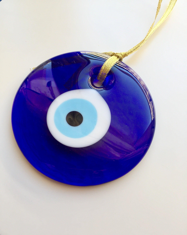 Glass Evil Eye Wall Hanging, Turkish Blue Eye, Nazar Amulet